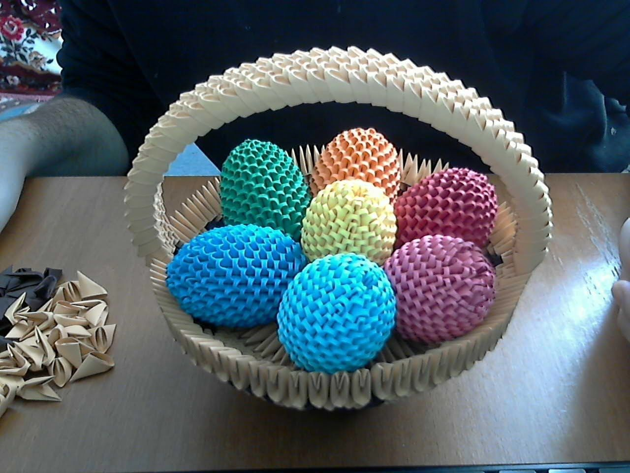 how to make 3d origami happy easter egg basket 3d