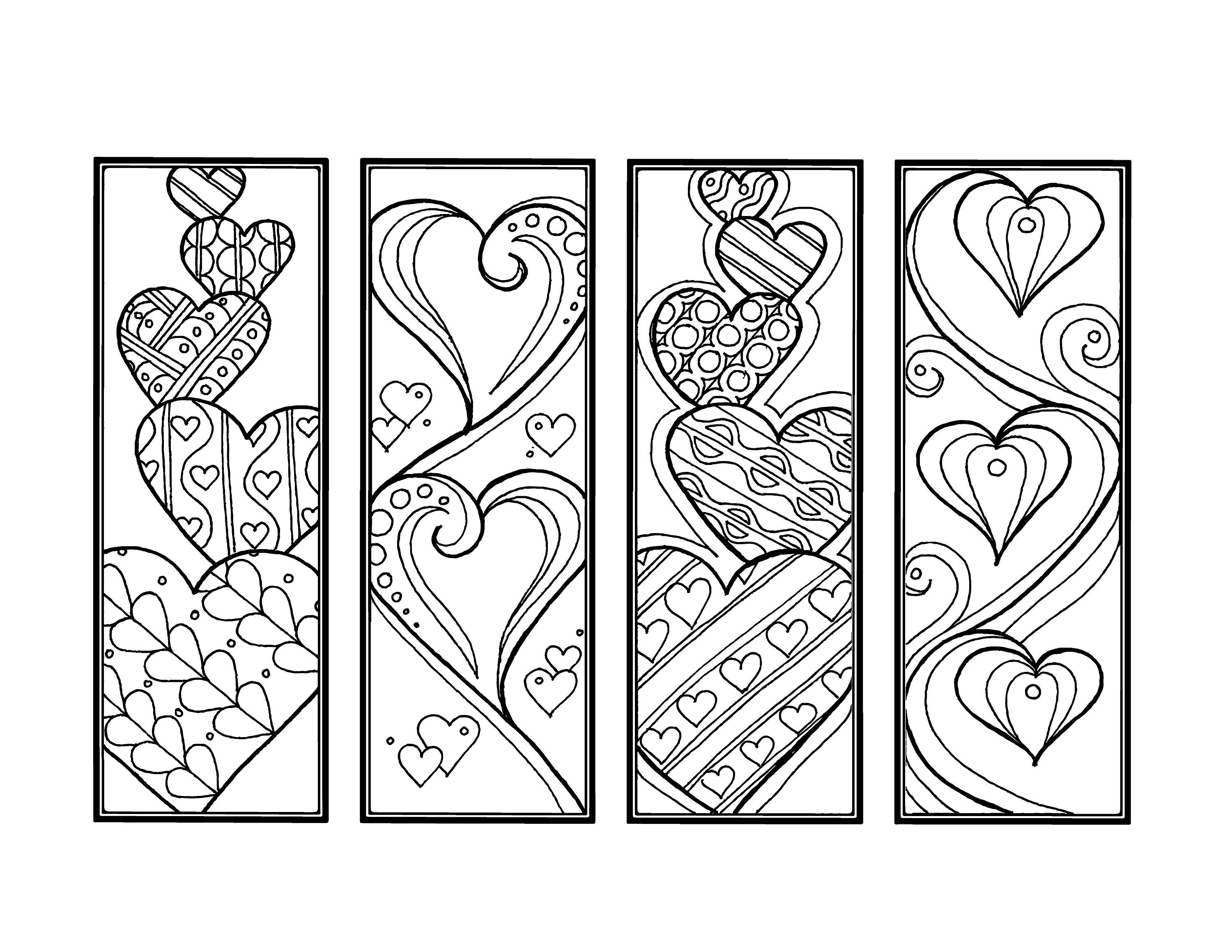 Diy Romantic Bookmarks Set Of 4 Printable Coloring Page Adult