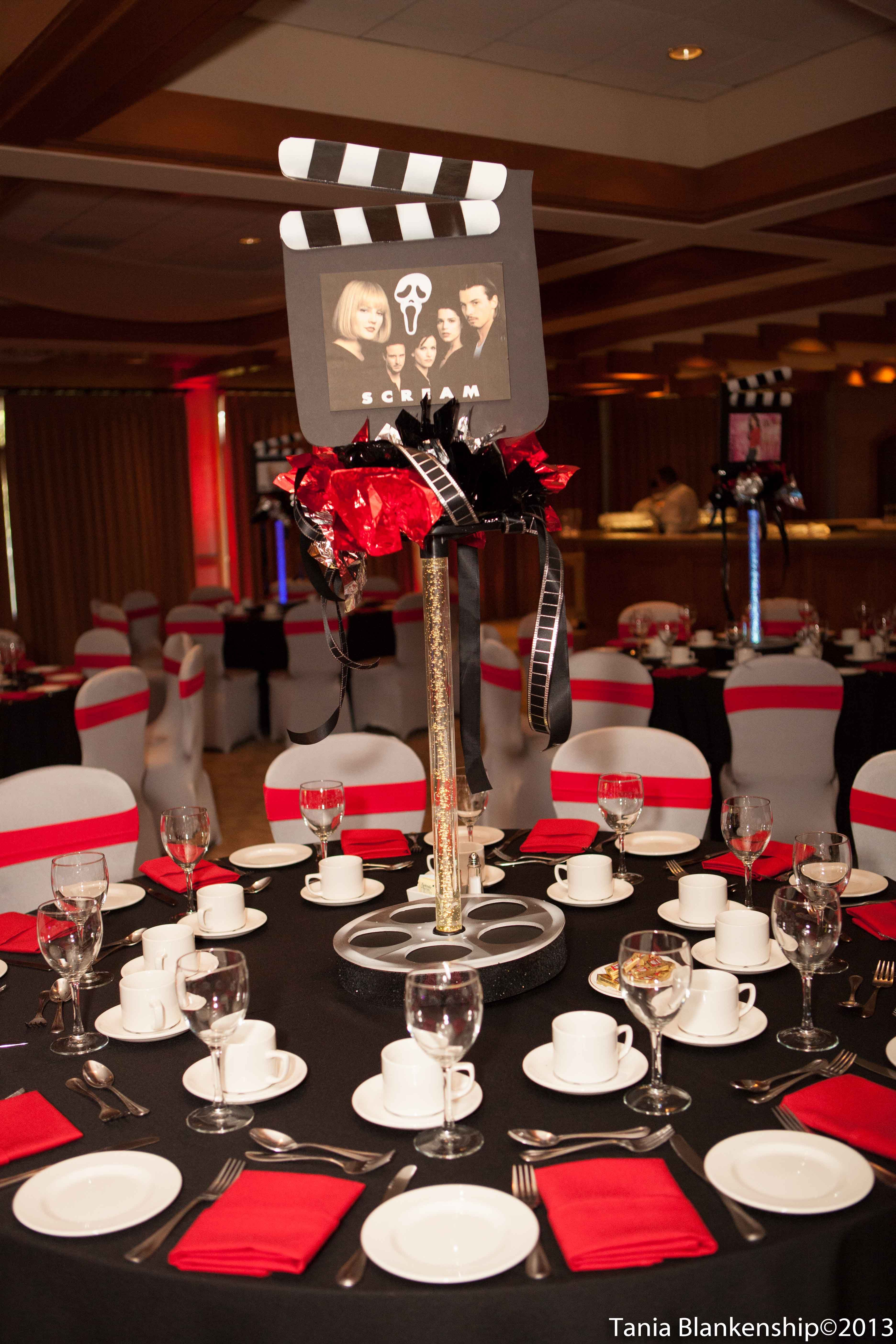 Movie theme bar bat mitzvah tall centerpiece red and