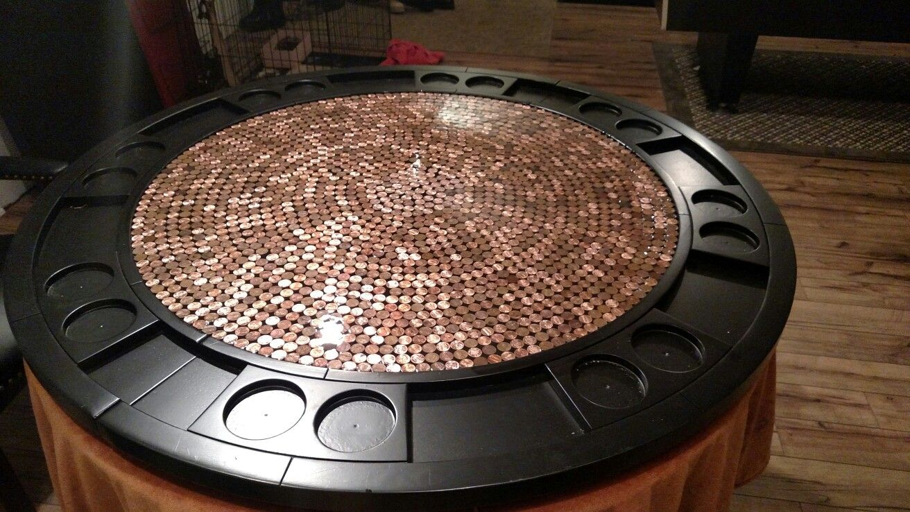 Easy diy poker table pennies w/ liquid glass (With images ...