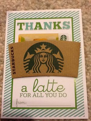 Thanks a latte for all you do print the card and add a Thanks for all you do gifts