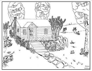 The Rag Coat Log Cabin Coloring Sheet With Images Coloring