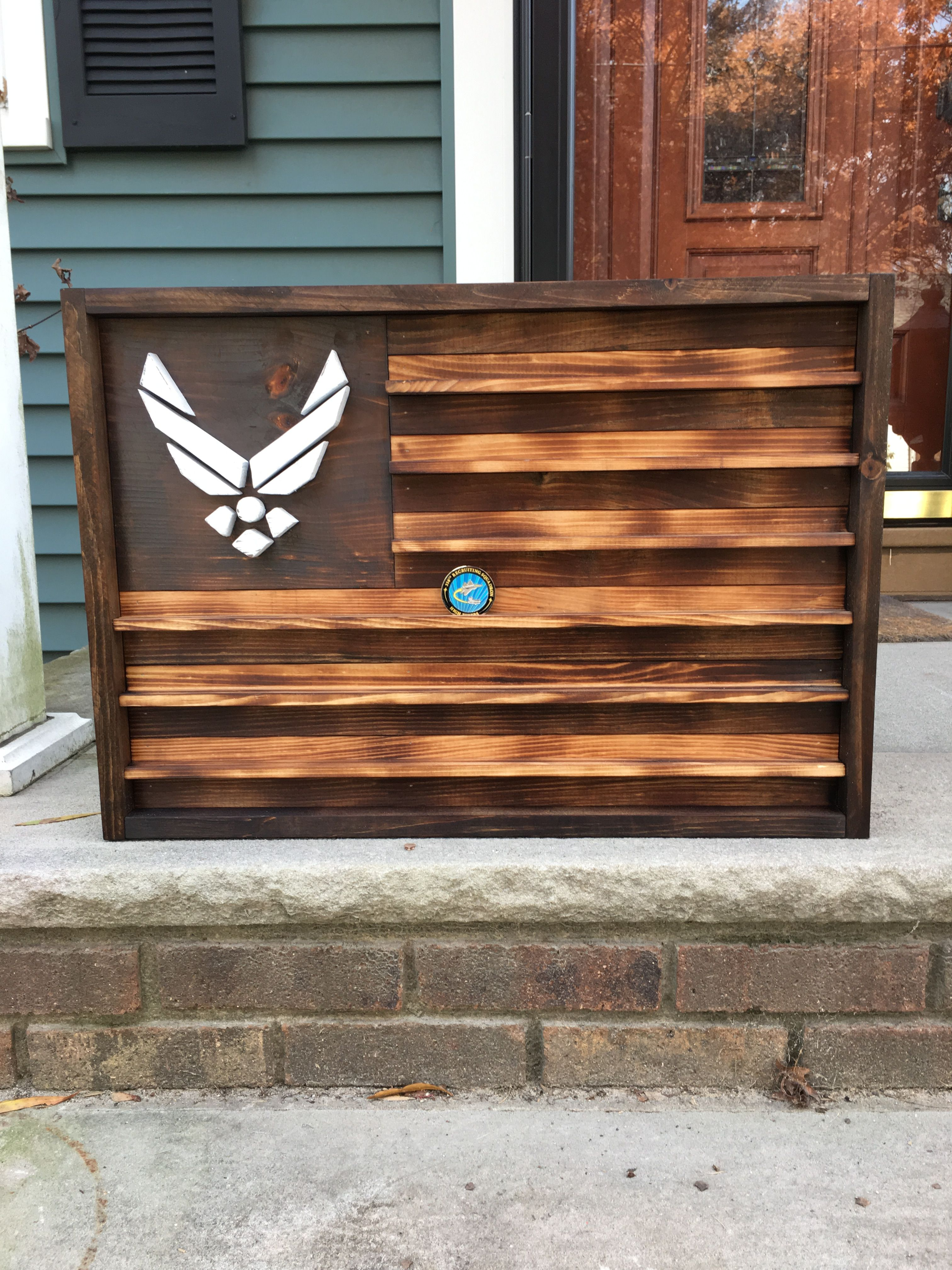 Rustic Air Force Flag/Coin holder Air force gifts