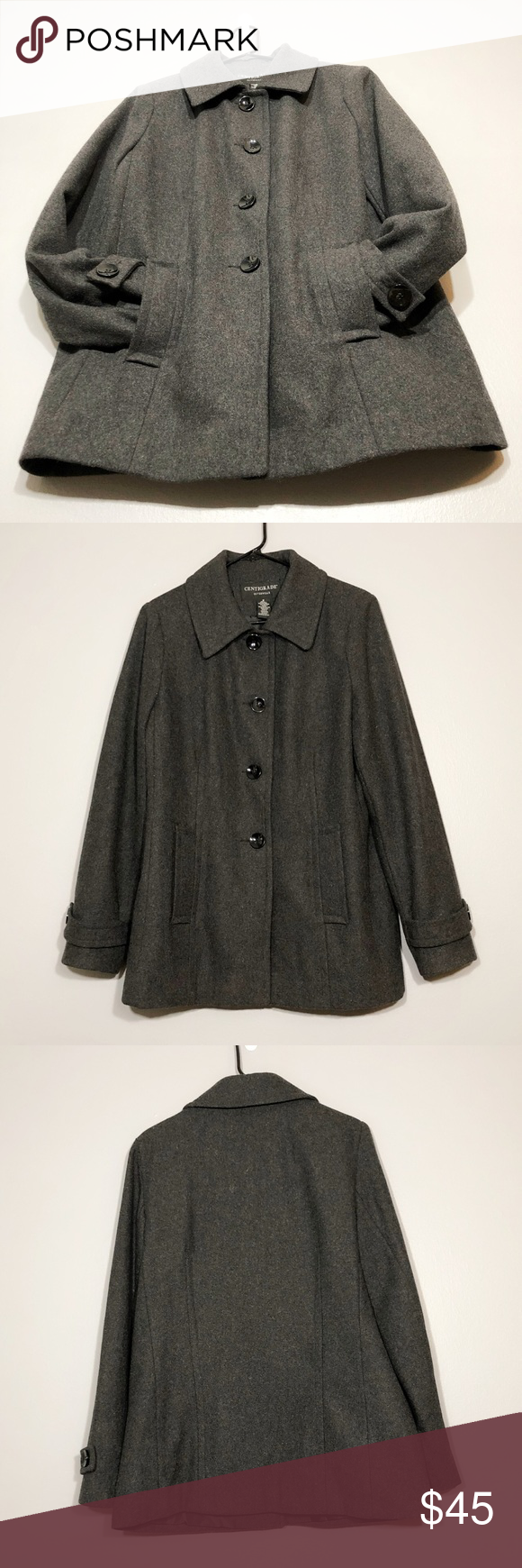 Centigrade Outerwear Button Up Wool Pea Coat Pre Owned In A Perfect Condition Size M Button Up 2 Pockets Full Peacoat Jacket Wool Peacoat Outerwear [ 1740 x 580 Pixel ]