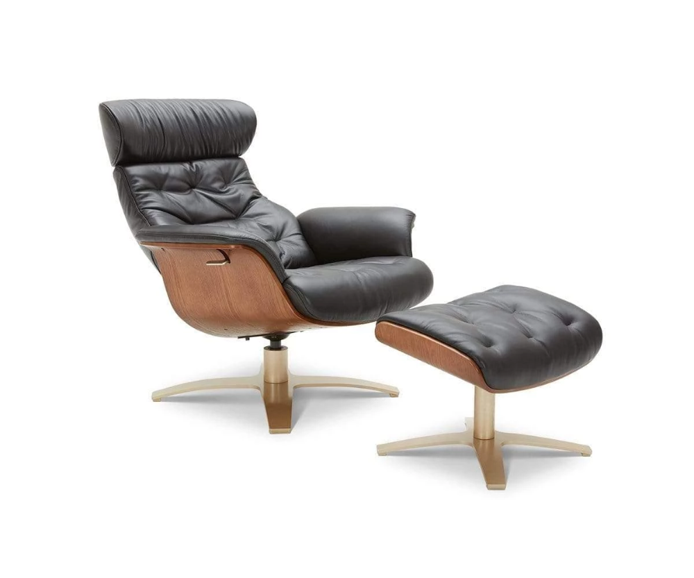 Anselmo Leather Recliner Ottoman In 2020 Leather Recliner Modern Recliner Chairs Scandinavian Recliner Chairs