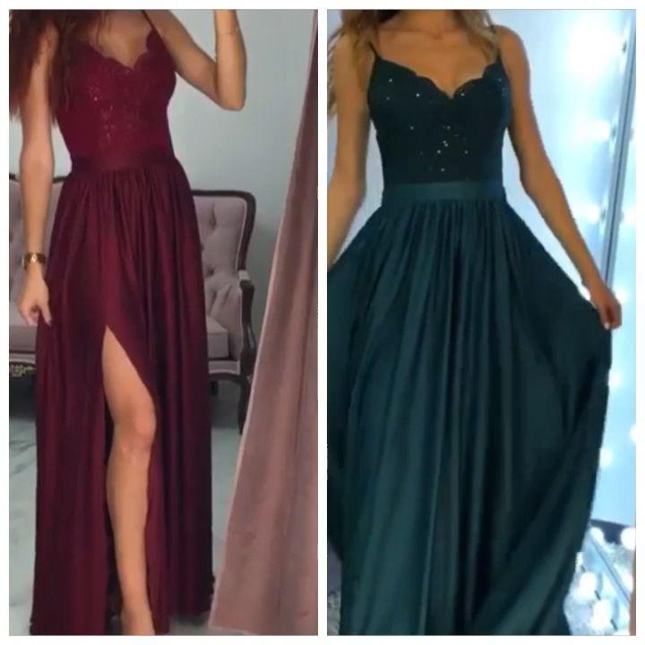 Spaghetti Straps Long Satin Prom Dresses Lace Appliques – alinanova 1