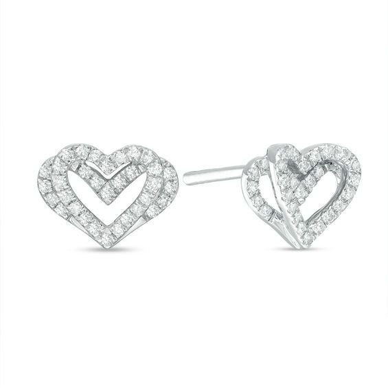14k White Gold Genuine Diamond 0.10ct G-SI1 Round Diamond Stud Post Earrings