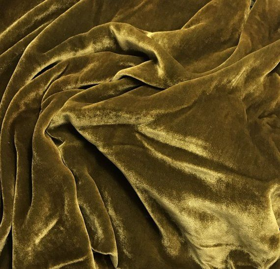 GOLDEN CHARTREUSE Hand Dyed Silk Velvet Fabric