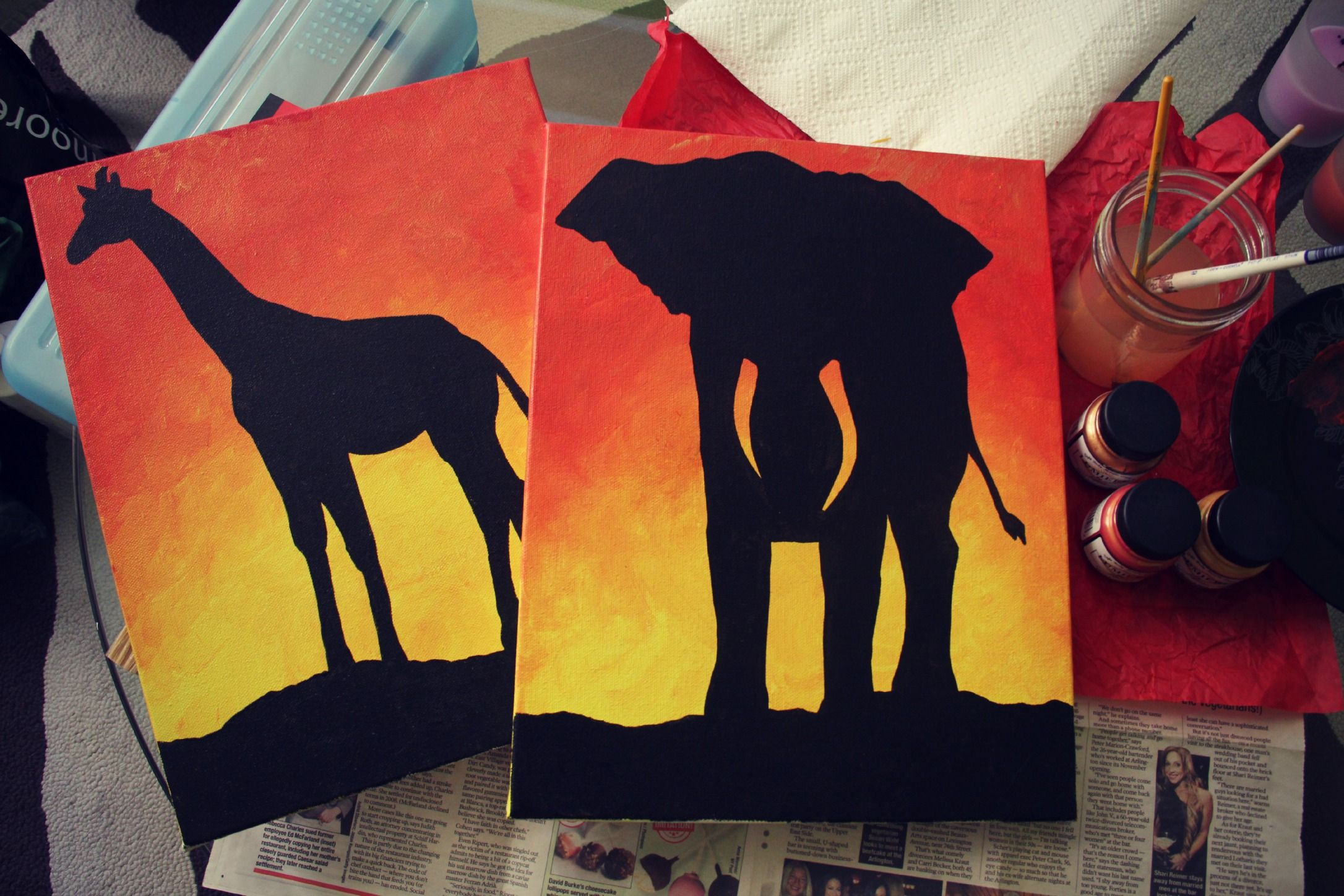 When Life Gives You Lemons Make A Weird Giraffe Silhouette Painting Elephant Painting Canvas Painting Giraffe Painting