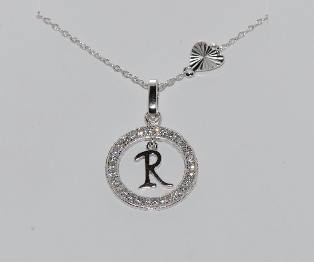 Sterling silver floating letter r cz circle initial