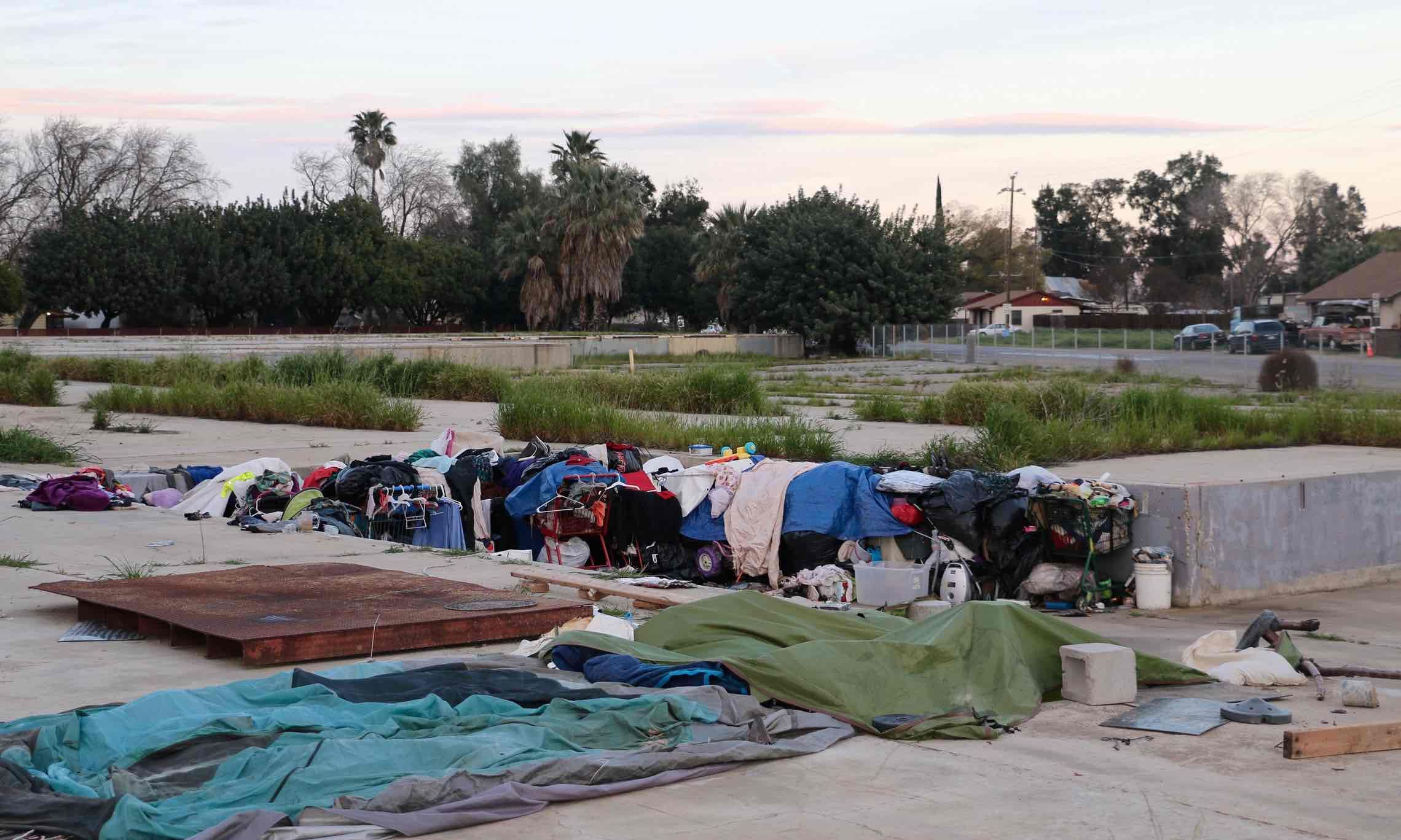 A homeless encampment at the site of the former Pacific