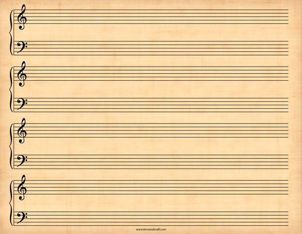 Printable Sheet Music Template  Music    Printable