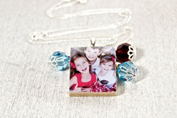 Customized Photo Scrabble Tile Charm Necklace by WiReDBoutique