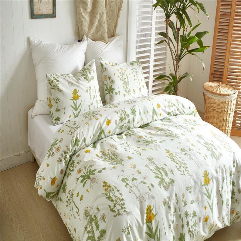 Botanical Duvet Cover Set Soft Microfiber Bedding Yellow Etsy Duvet Cover Sets Bedroom Decor Duvet