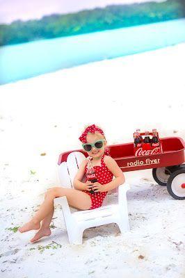Photo of Kids retro 50's style photo shoot. Coca Cola photo shoot. Retro kids swimsuit