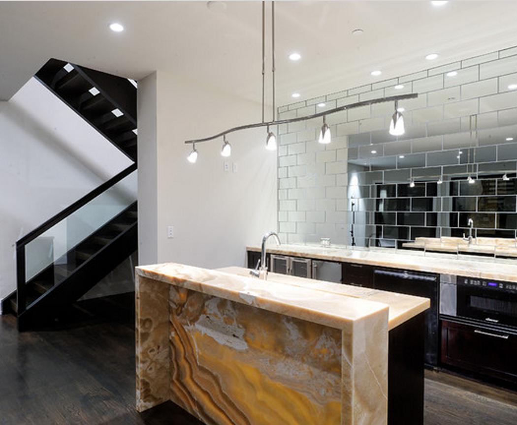 - Use Mirror As A Backsplash For The Wet Bar Modern Kitchen