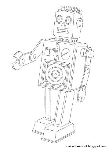 Color The Robot Robots Drawing Vintage Robots Robot Party