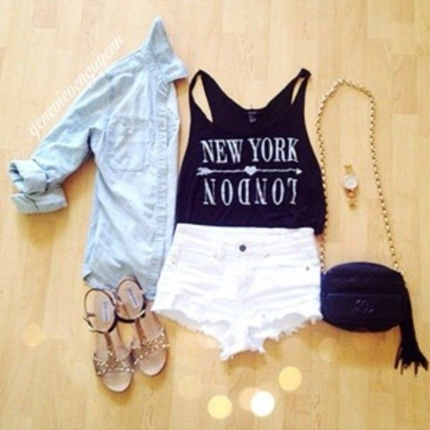 Tank top: clothes, new york, outfit, shorts - Wheretoget