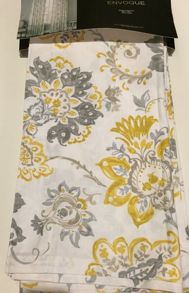 New Envogue 2 Yellow Gray Jacobean Floral Window Curtain Panels