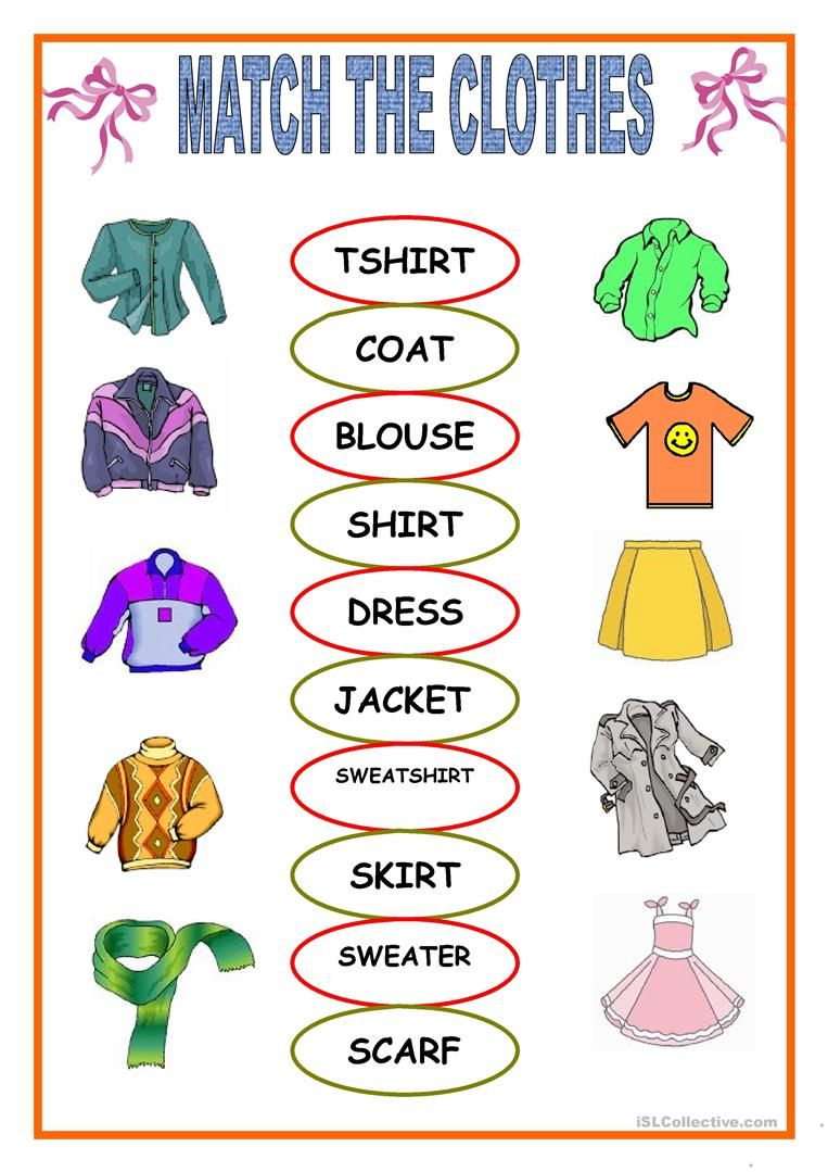 Free Esl Clotheseets Matching Fun Activities Games 519 1