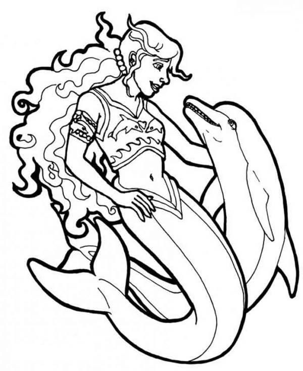 Mermaid warrior mermaid with her dolphin coloring page