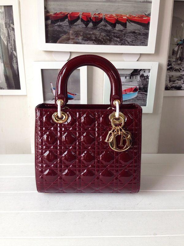 deed761f9e8b Dior Lady Dior Medium Bag Patent Leather Original Leather