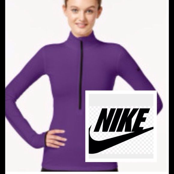 Nike purple Pro Hyperwarm long sleeve dri fit Half zip long sleeve very warm ,like new with thumbholes dri fit material ....in the picture looks blue but it is a dark purple like pic #1 Nike Tops Sweatshirts & Hoodies