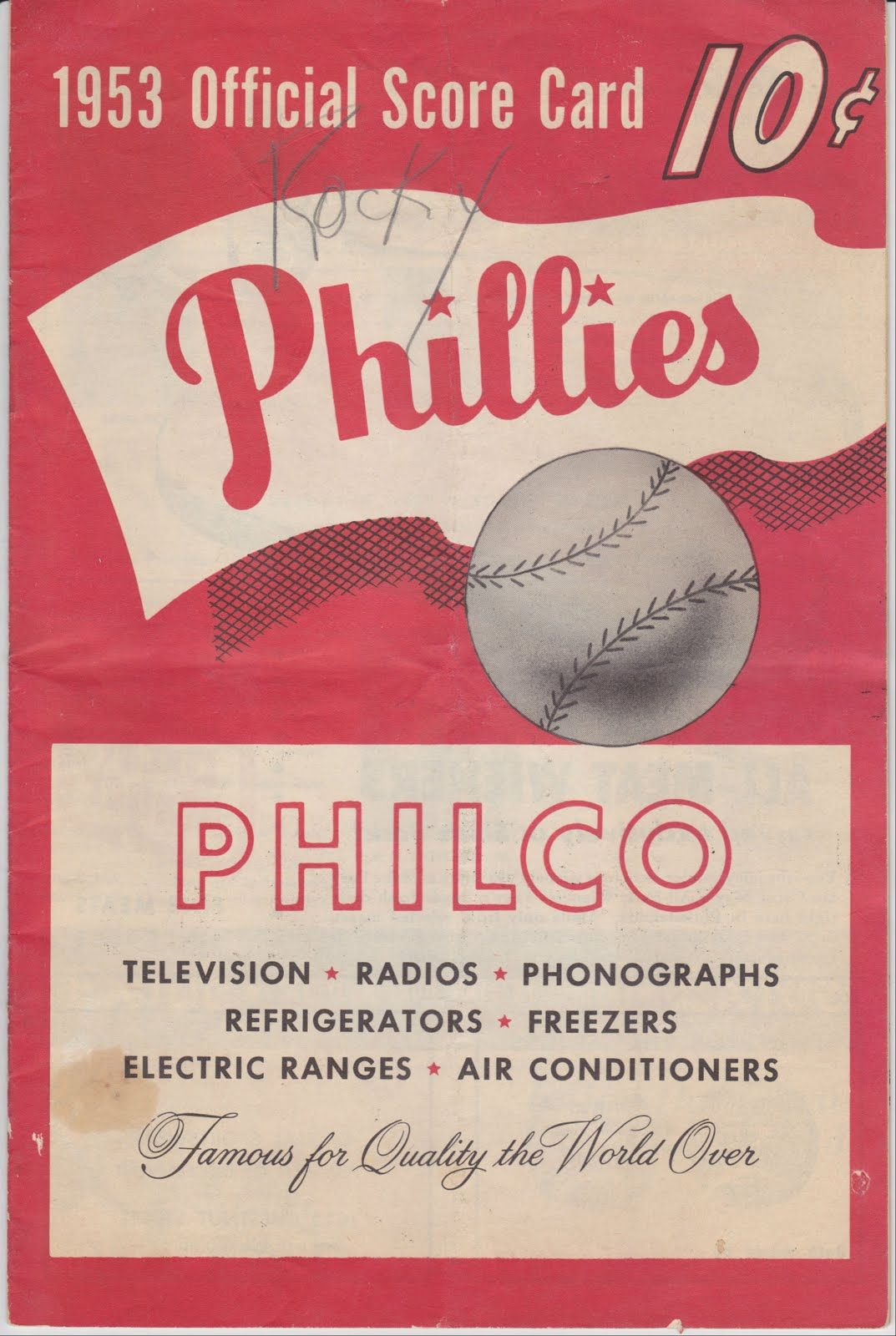1953 official score card, sponsored by Philco | Phillies Baseball ...