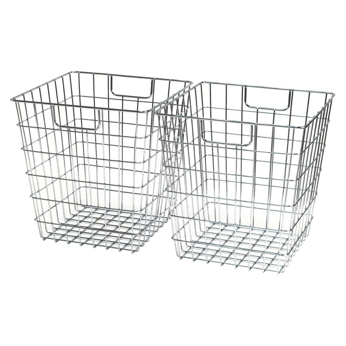 Room Essentials Wire Decorative Basket Set of 2 - Chrome | For the ...