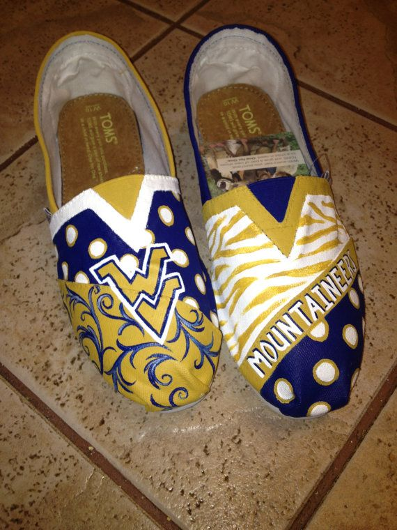 Okay Yeah I Need These Wvu Mountaineers Toms West Virginia University Hand Painted Toms Toms Shoes Outlet