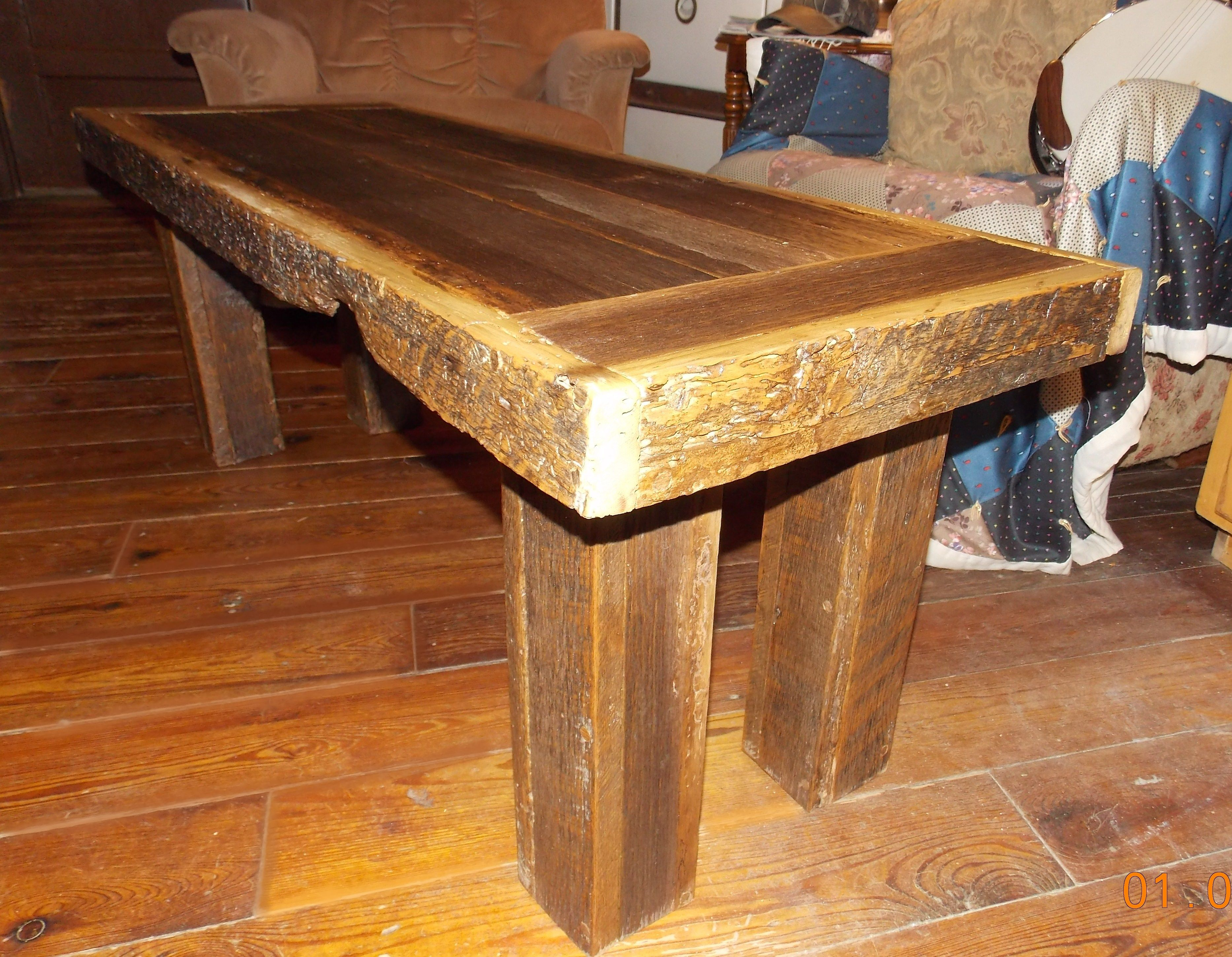 Reclaimed Barn wood Coffee table App 50 long x 17 wide x 18 tall The