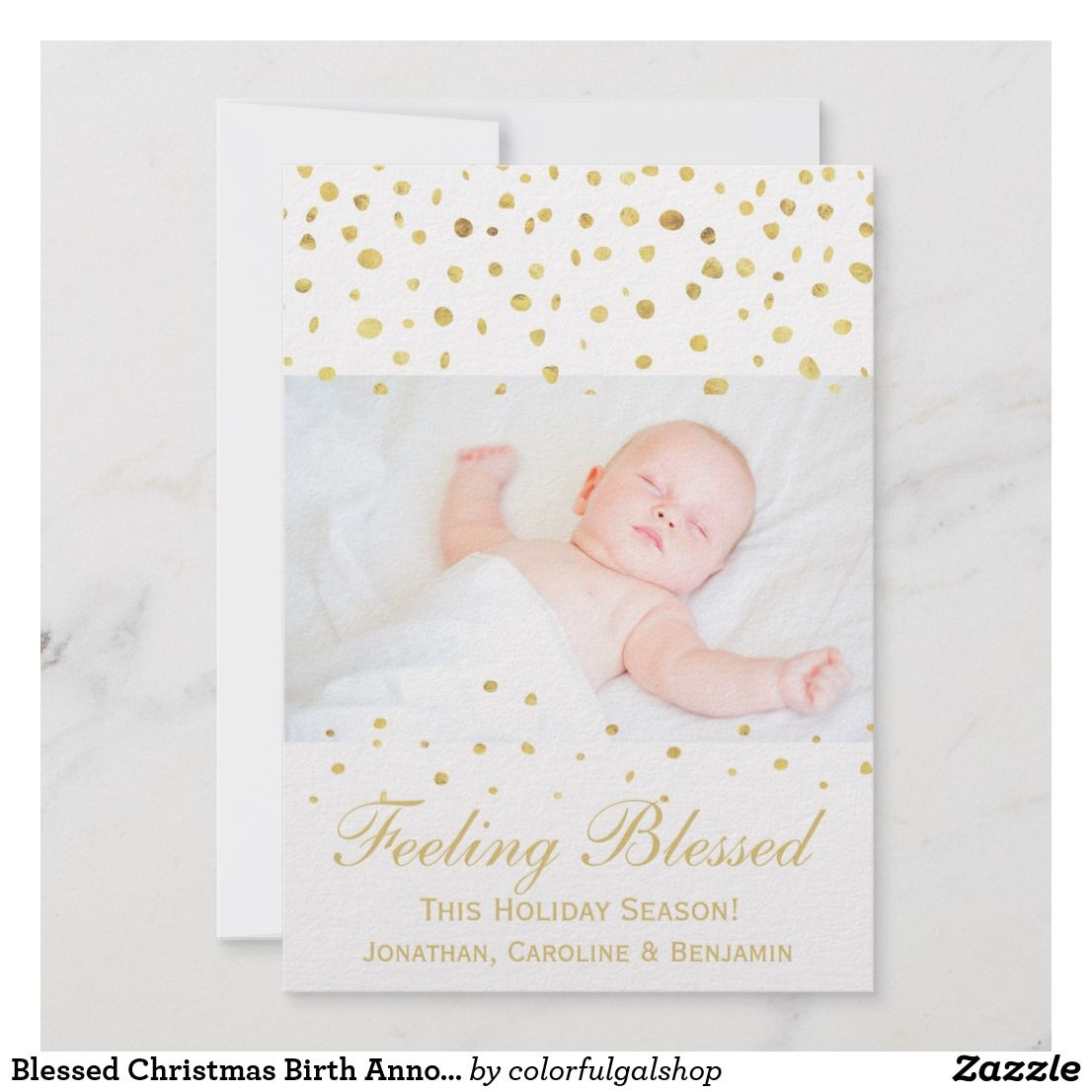 Blessed Christmas Birth Announcement Gold Confetti Holiday Cards Announcements Baby Pregnancy
