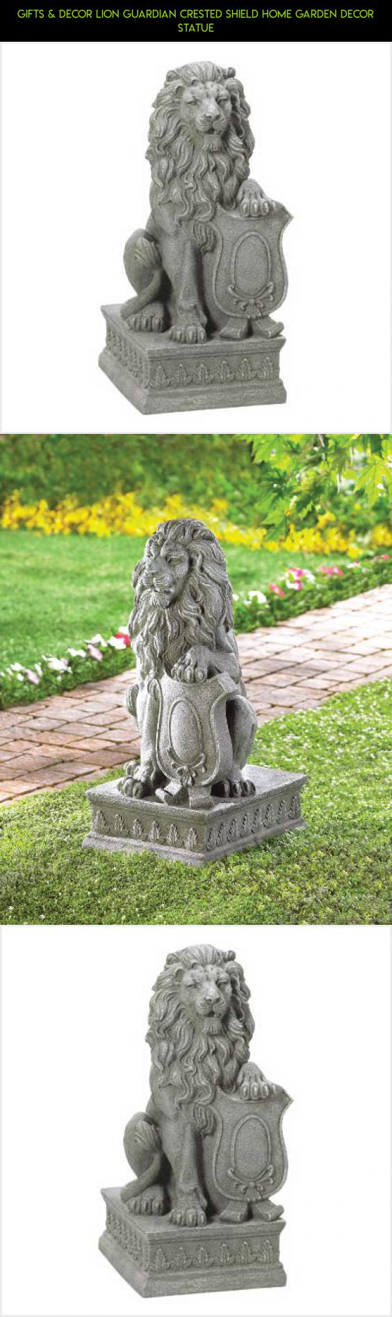 Gifts & Decor Lion Guardian Crested Shield Home Garden Decor Statue ...