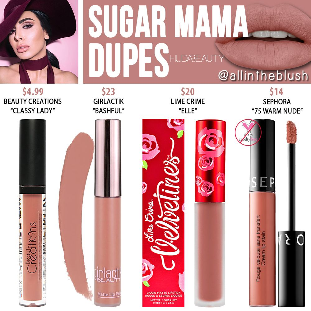 Huda Beauty Sugar Mama Liquid Matte Lipstick Dupes – All In The Blush