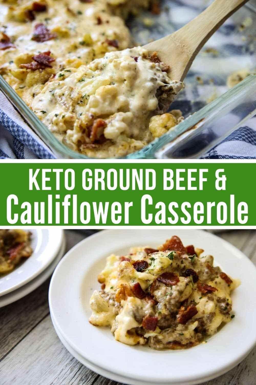 Cheesy Ground Beef Cauliflower Casserole Keto Recipe Cauliflower Casserole Beef Casserole Recipes Keto Cauliflower Casserole