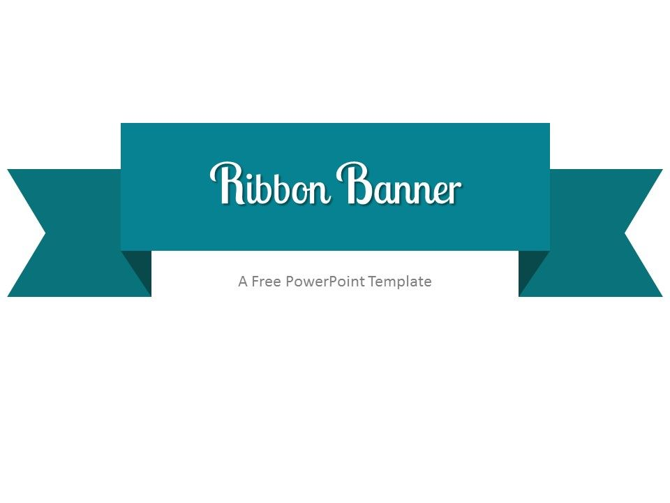 Turquoise Ribbon Banner PowerPoint Template | Clean