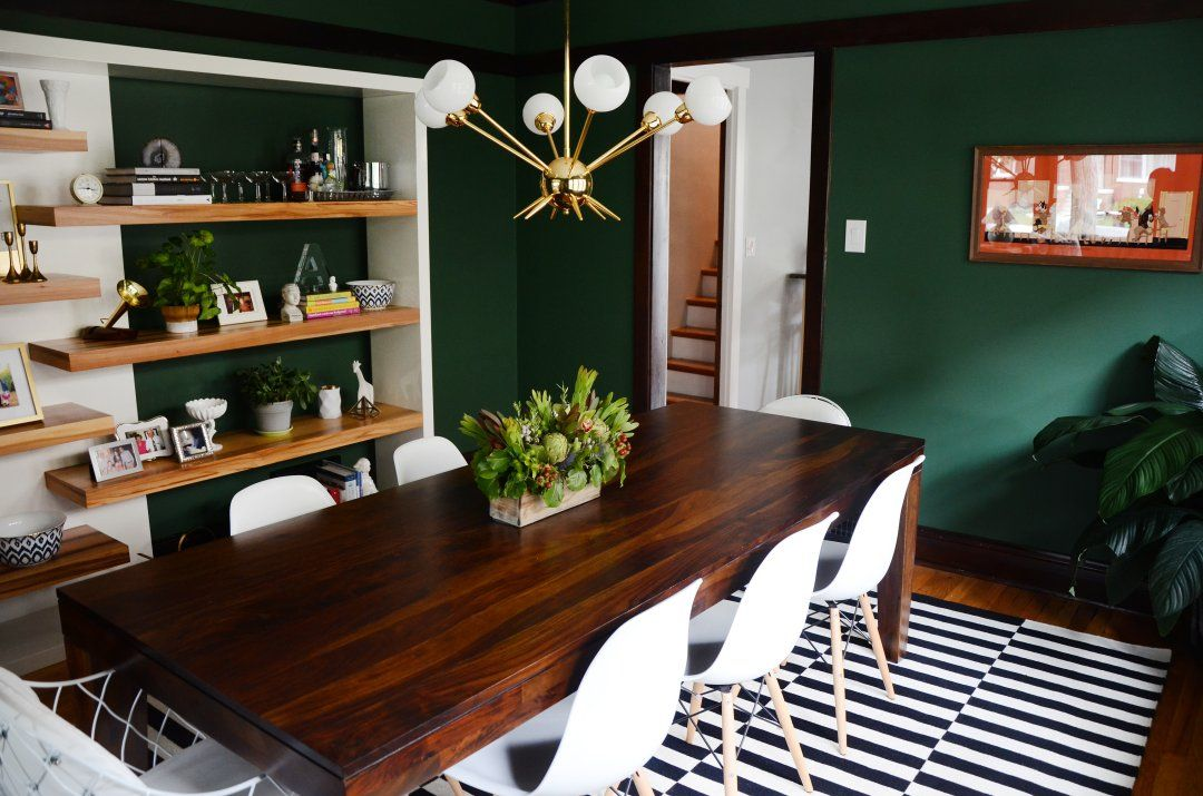 Amy S Only Lived Here For Little Over A Month But She S Created An Eclectic Space Filled Wit Dark Green Living Room Living Room Green Green Dining Room Walls