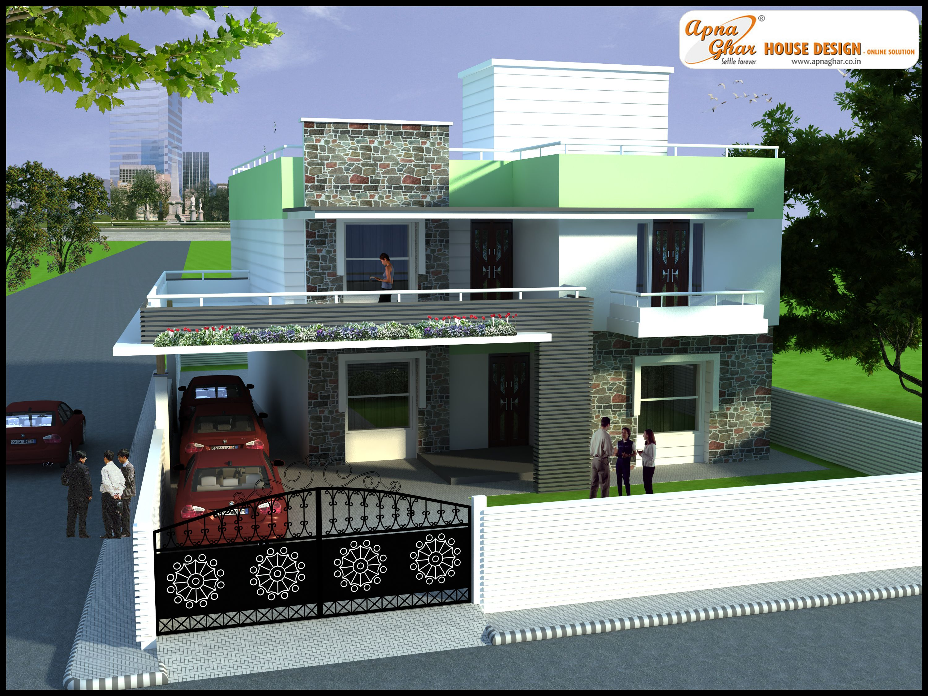 4 bedrooms duplex house design in 450m2 15m x 30m for Front view of duplex house in india