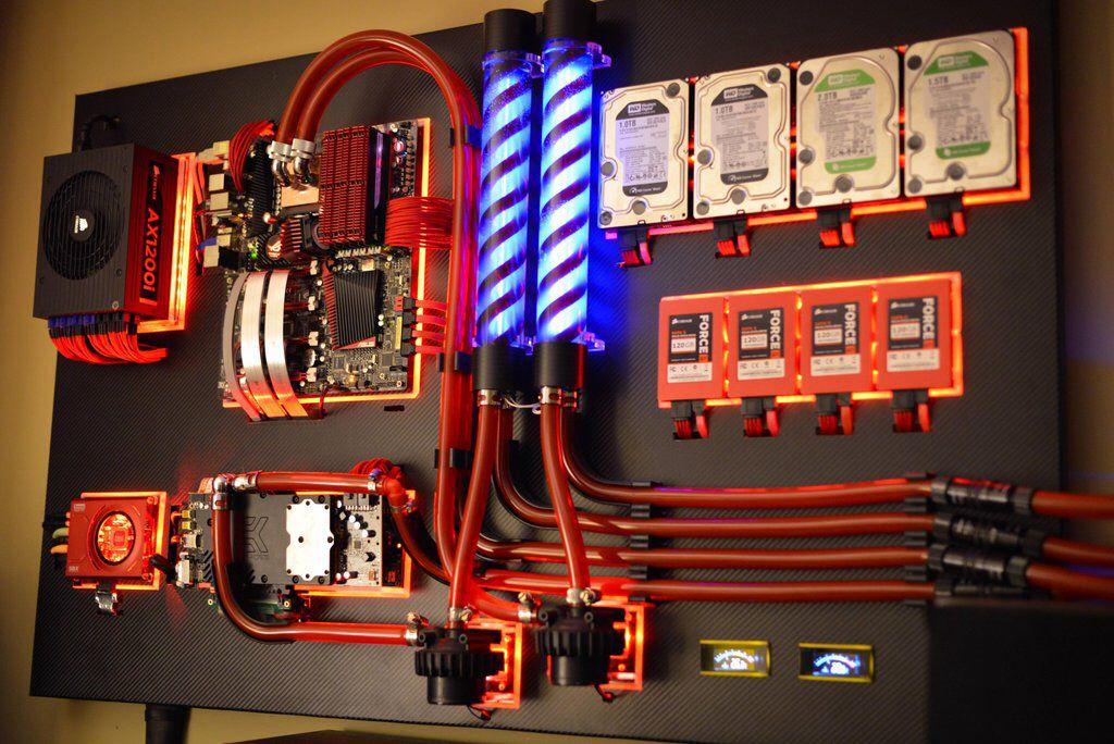 A Beautiful Watercooled Wall Mounted Pc Wall Mounted Pc Computer Build Custom Pc