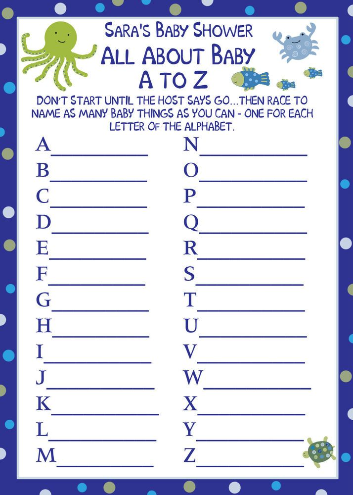 24 Baby Shower A To Z Baby Game Cards Under The Sea Game Cards