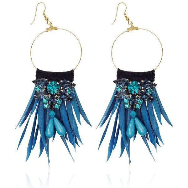 MATTHEW WILLIAMSON Tribal Earrings - Blue (€260) ❤ liked on Polyvore featuring jewelry, earrings, blue, feather hoop earrings, tribal jewelry, feather jewelry, blue hoop earrings and blue earrings