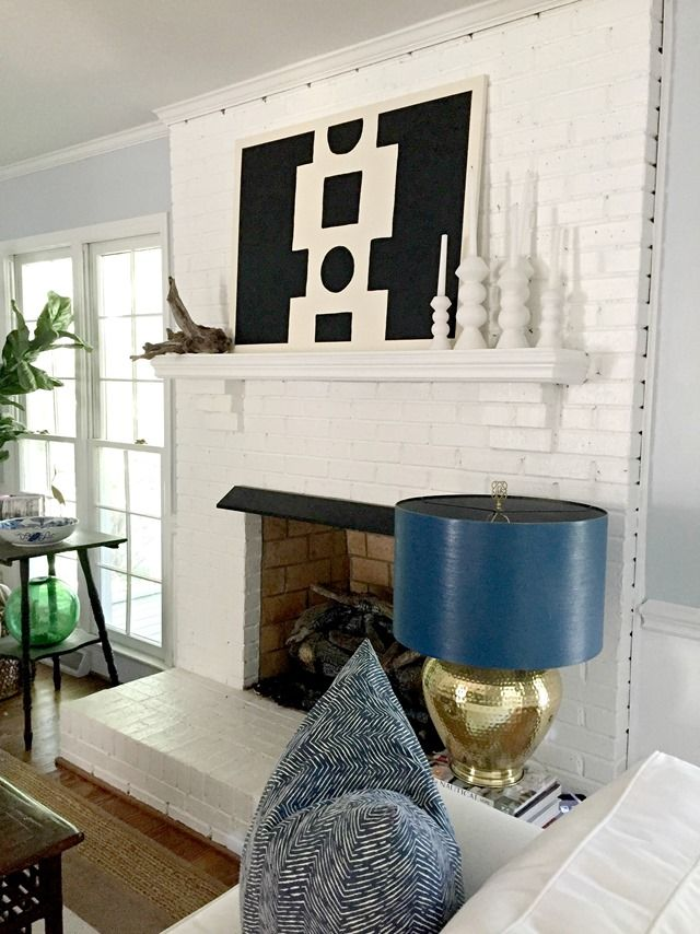 summer-home-tour-mantel, DIY art, white, candlesticks ...