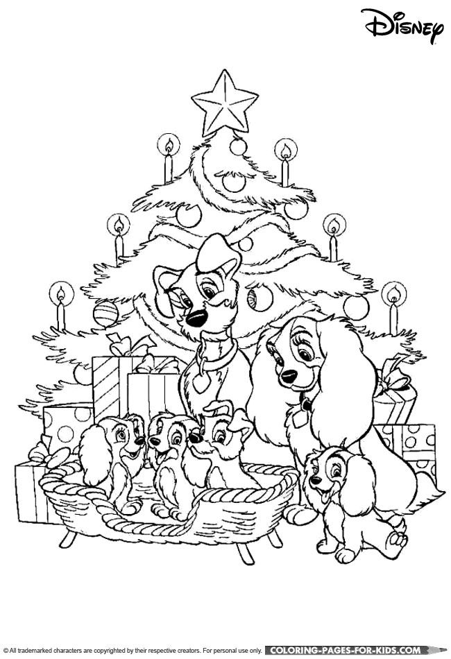 Lady and the Tramp Christmas coloring page Entertaining