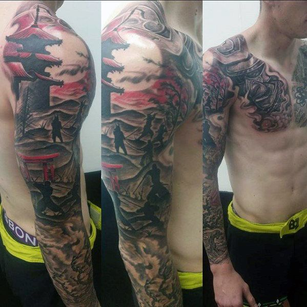 50 Japanese Temple Tattoo Designs For Men Buddhist Ink Ideas Sleeve Tattoos Full Sleeve Tattoos Full Sleeve Tattoo Design,Graphic Design Online Portfolio