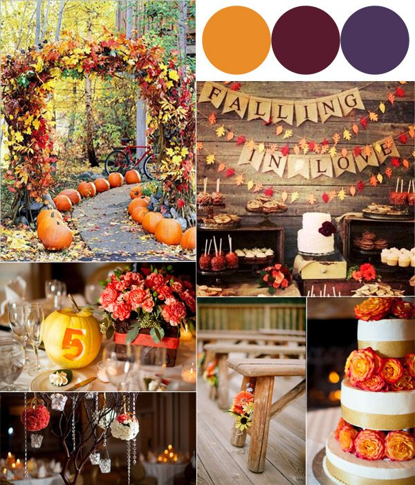 Hot fall wedding colour combinations 2014 burgundy for October wedding decoration ideas