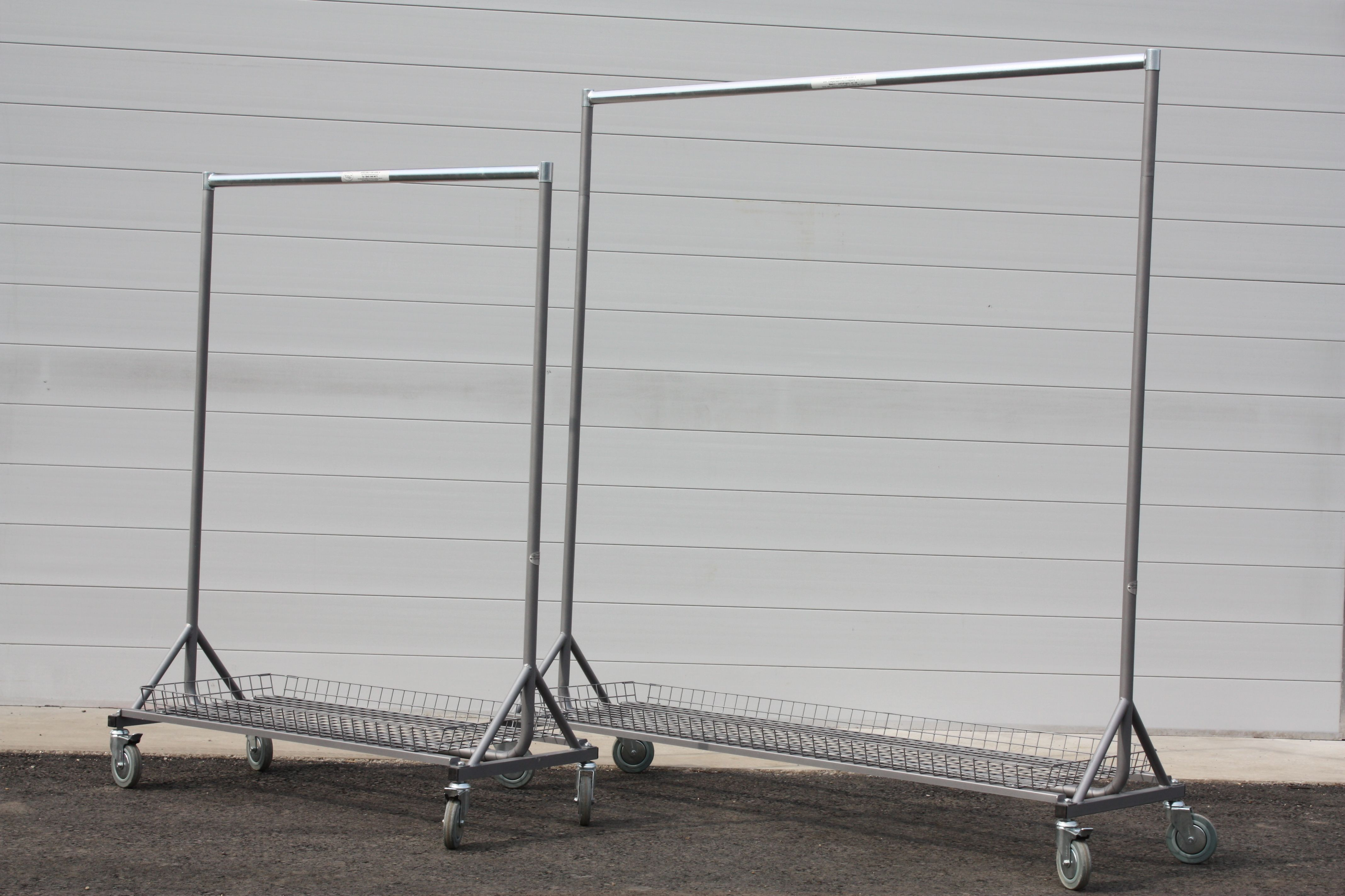 Our HDCC 4ft, and HDC 6ft collapsible garment rails with detachable base trays.