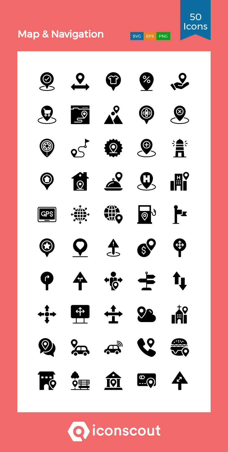 Map & Navigation Icon Pack 50 Glyph Icons in 2020