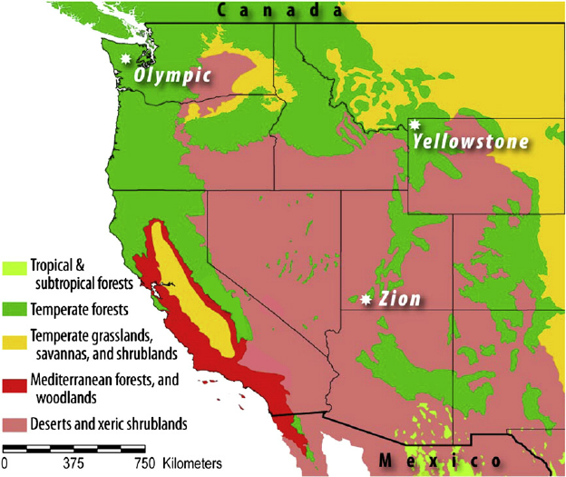 Fig 2 Location of Yellowstone Olympic and Zion National Parks