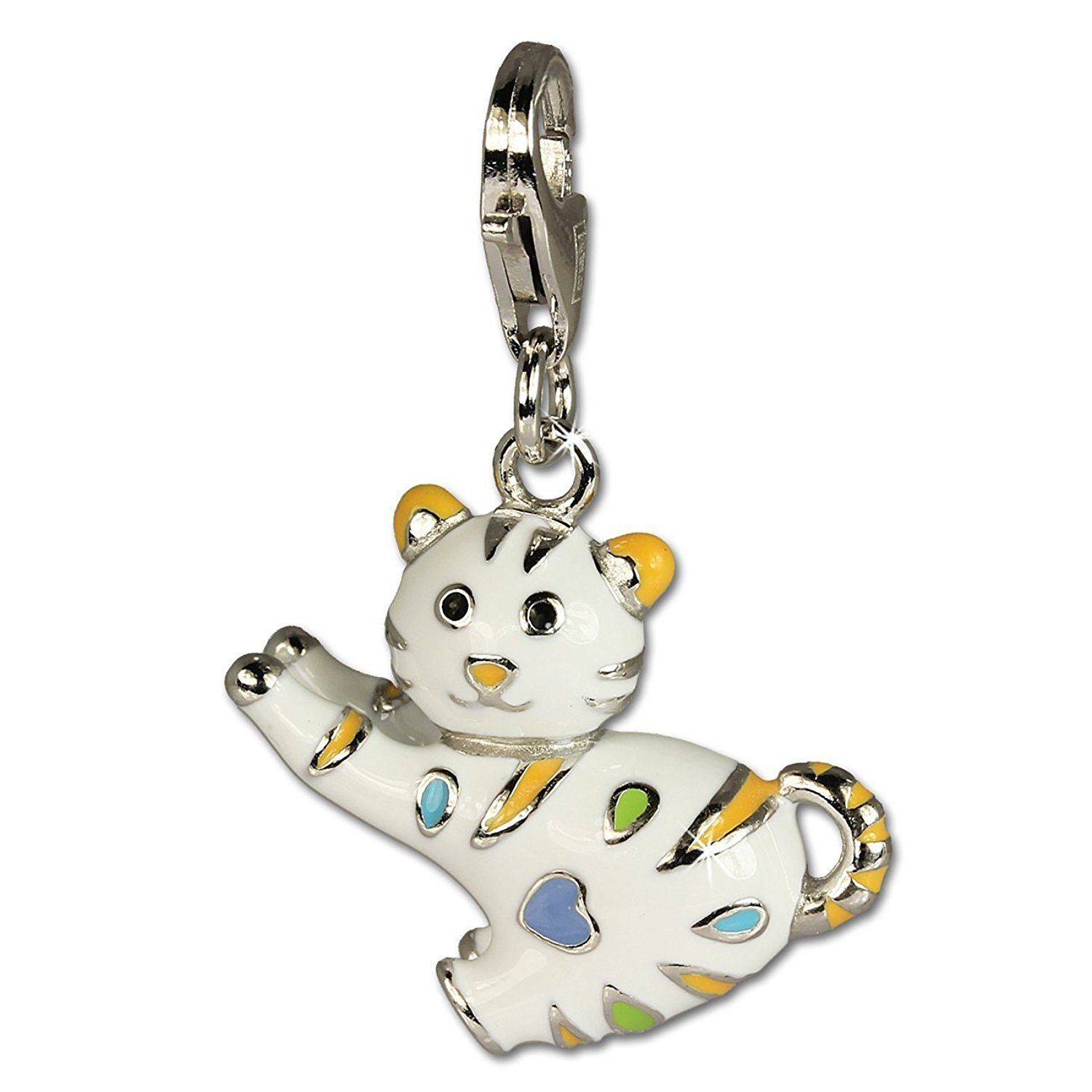 Beautiful Sterling silver 925 sterling Sterling Silver Enameled Crystal Cat w//Lobster Clasp Charm