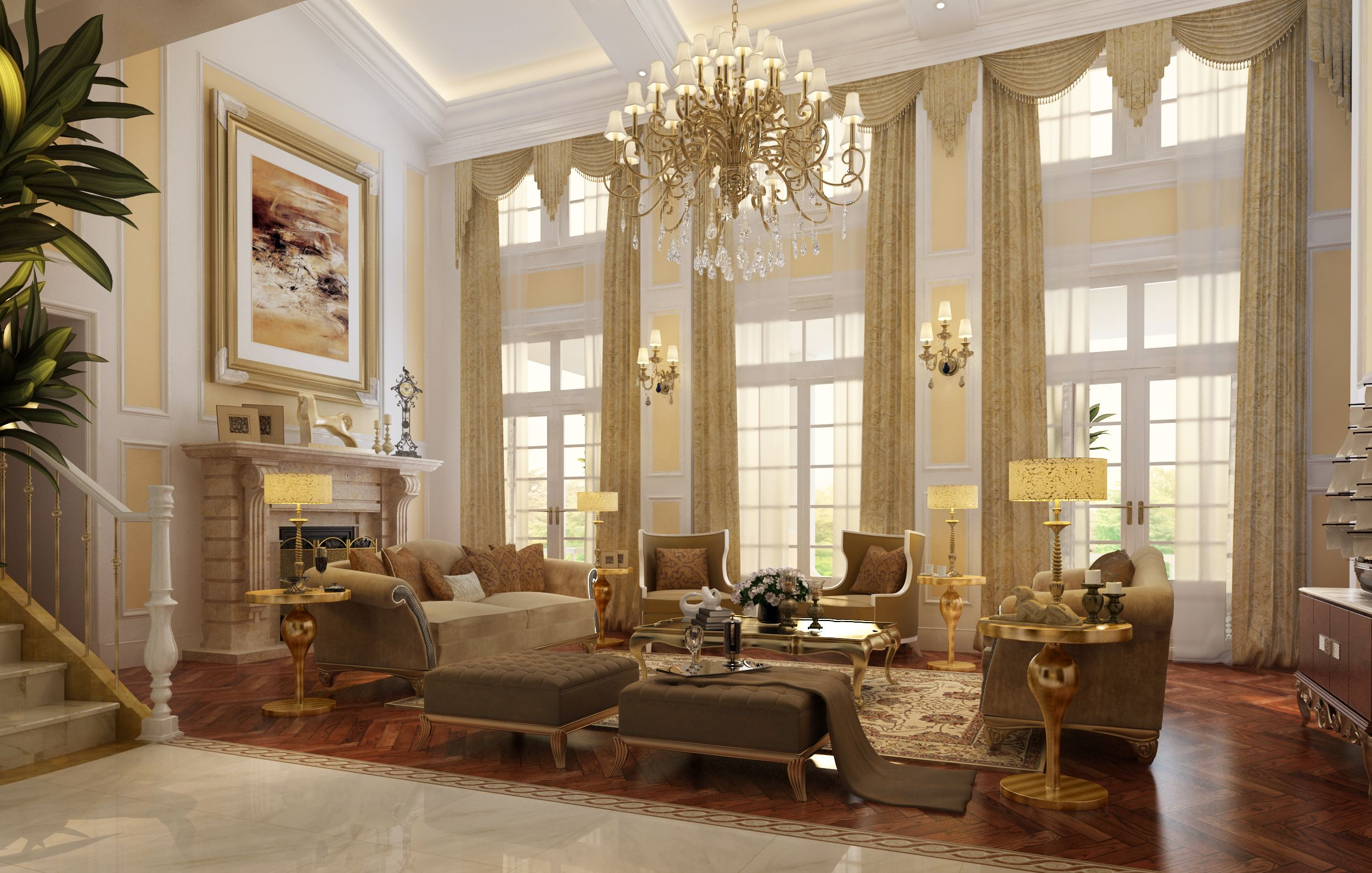 Luxurious Living Rooms Luxury Living Room With Fireplace 3d